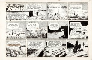 GRAY, HAROLD - Little Orphan Annie Sunday, Annie & her dog Sandy eat in a march & find castle  3/22 1959 Comic Art