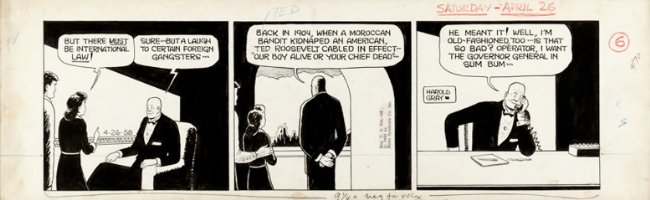 GRAY, HAROLD - Little Orphan Annie daily, Daddy Warbucks name-drops Teddy Roosevelt 4/26 1958 Comic Art