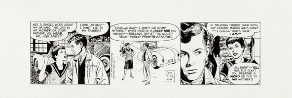 FINE, LOU - Adam Ames daily 11-6 1959, Jo Ann lets Joel Ames know how little she respects a squealer! Comic Art