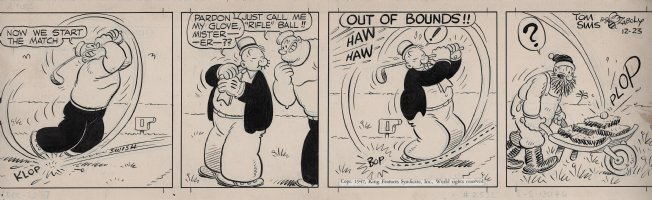 ZABOLY, BILL - Popeye daily 12/23 1947 - Wimpy is  out of bounds  on the golf course! Comic Art