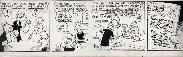 ZABOLY, BILL - Popeye daily 2/17 1948 - Pappy, Popeye, Wimpy, Sweet Pea, Rough House the chef Comic Art