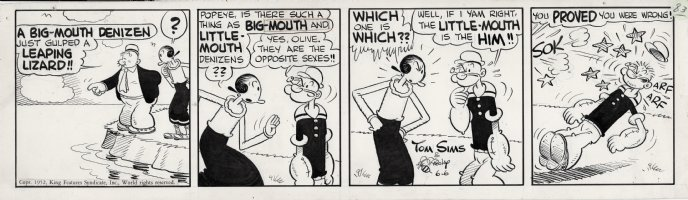 ZABOLY, BILL - Popeye daily 6/6 1952 - Wimpy, Popeye and Olive Oyl try to figure out which sex Big Mouth and Little Mouth Bass are?  Comic Art