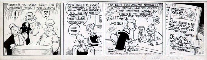 ZABOLY, BILL -  Popeye daily 2/17 1948,  Popeye. Pappy Sweet-pee  Wimpy - weather Comic Art