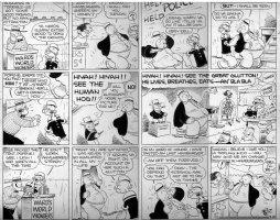 ZABOLY, BILL - Popeye Sunday 8/30 1942, Popeye and Wimpy, circus sideshow Comic Art