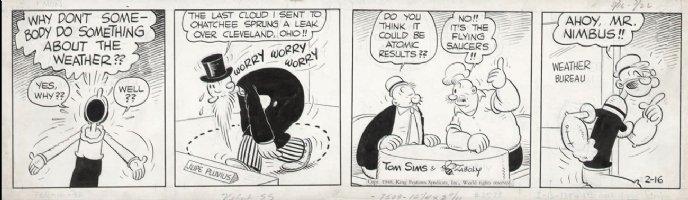 ZABOLY, BILL- Popeye daily 2/16 1948 - weird weather Comic Art