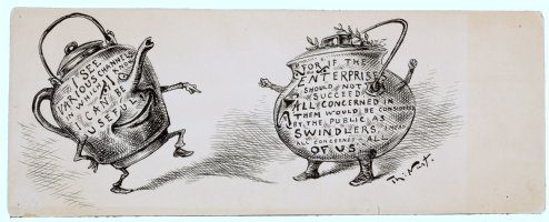 NAST, THOMAS - Classic editorial cartoon. Mr. Kettle points an accusing finger at Mr. Pot! Comic Art