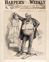 NAST, THOMAS - Harper's Weekly Cover Art, satire on Col. Robert S. Ingersoll- defense lawyer in postal-route bribery scandal 1882 Comic Art