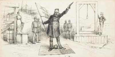 NAST, THOMAS - President Cleveland stands on US flag, Uncle Sam by gallows, Lady Liberty (Columbia) at boarding exit Comic Art