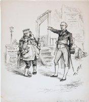 NAST, THOMAS - New York Harpers Weekly cartoon, Tammany Hall's Tweed-ish Boss, John Kelly, at guillotine, 1886 Comic Art