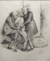 NAST, THOMAS - New York Harpers Weekly editorial: public Jimmy, Presidential candidate Blaine, JP Morgan 1884 Comic Art