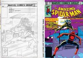 LAYTON, BOB - Amazing Spider-Man #227 cover prelim, Spidey & Black Cat Comic Art
