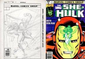 LAYTON, BOB - Savage She-Hulk #6 cover prelim, Shulkie vs Iron Man 1980 Comic Art