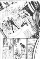 SIENKIEWICZ, BILL - JSA 80-Page Giant 2010 #1 semi-splash pg 9,  full JSA Team, Fire Comic Art