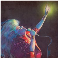 SIENKIEWICZ, BILL - Dazzler #29 painted cover, Dazzler sings her little heart out! Detail from the much larger cover. Comic Art