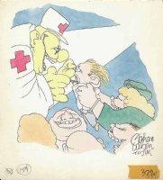 WILSON, GAHAN - Magazine / Lampoon color illo - Red Cross Clown frightens kid Comic Art