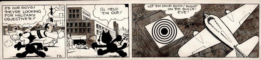 MESSMER, OTTO - Felix Cat daily, WW2, Felix targets Japan, 7/21 1942 Comic Art