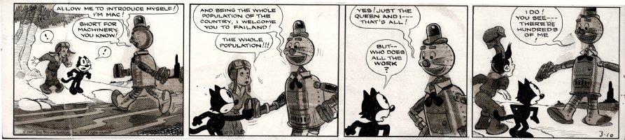 MESSMER, OTTO - Felix Cat daily 3/10 1941, Felix & kid with Mac, a Tin-Man robot Comic Art