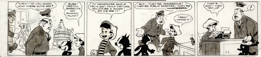 MESSMER, OTTO - Felix Cat daily 1/1 1940, Felix & kid capture murderer Comic Art