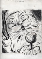 GOLDBERG, RUBE - political cartoon 12-30 1948  To Everyone  Santa Claus wishes everyone a Merry Christmas! Comic Art