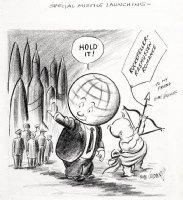 GOLDBERG, RUBE - political cartoon  Special Missle Launching  Comic Art