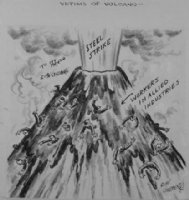 GOLDBERG, RUBE - political cartoon  Victims Of Volcano  Comic Art