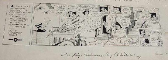 GOLDBERG, RUBE - The Prize Nuisance daily, 5/11 1931, big panel- signed to Mrs Vic Forsythe (Joe Jinks artist) Comic Art