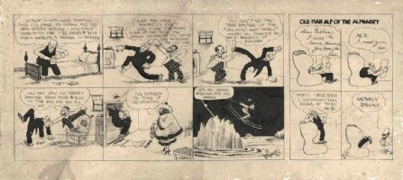 GOLDBERG, RUBE - Ollie & Old Man Alf double daily, autographed in 1916 Comic Art