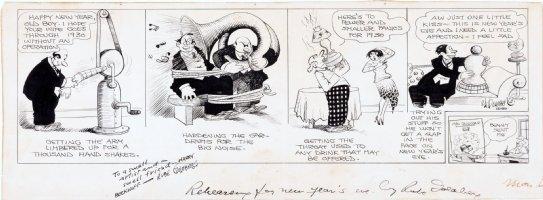GOLDBERG, RUBE - Rehearsing New Years Eve daily 12/30 1929, Goldberg hand-shaking machine signed Comic Art