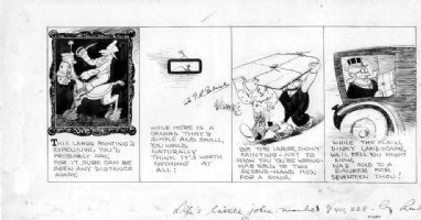 GOLDBERG, RUBE - life's little jokes daily, classical painting goes for zip but minor modern piece sells! 1920s Comic Art