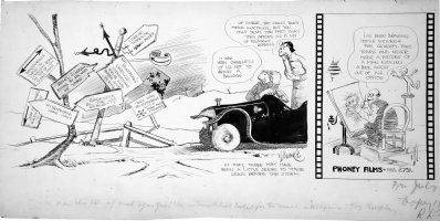 Goldberg, Rube - Automobilist daily, wacky road-signs & artist draws for 72 years, 1920s Comic Art