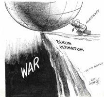 GOLDBERG, RUBE - political cartoon  Berlin Ultimatium  Khrushchev pushes globe to war Comic Art