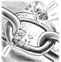 GOLDBERG, RUBE - political cartoon  US Latin-American Friendship  Castro Cuba Panama Comic Art