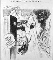 GOLDBERG, RUBE - political cartoon  To Awful to Keep Hidden  Russina Bear blocks UN on rape of Tibet Comic Art