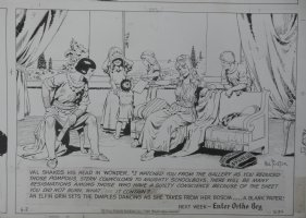 FOSTER, HAL - Prince Valiant Sunday 6-2-1968. Detail of incredible last panel with Val and his whole family!  Comic Art