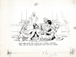 FOSTER, HAL - Prince Valiant NSC program pinup, Prince in orgy asks Foster for sin with saga 1960s Comic Art