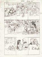 FOSTER, HAL - Prince Valiant Sunday #1959 pencil prelim, August 1974. Queen Aleta sees son Prince Arn & girl Comic Art