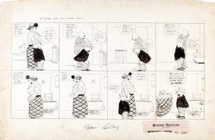 DORGAN, TAD - Judge Rummy's Court Sunday 6/1 1919, Judge & tall wife in tiny house, Ham & Eggs joke Comic Art