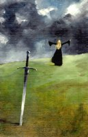 MUTH, JON J. - Lady and Sword painting,   The Coming Storm  1986 Comic Art