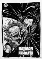 KIETH, SAM - Batman Vs Predator prestige edition #2 inside cover, Batman capes Predator Comic Art