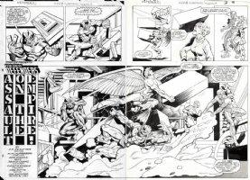 MIGNOLA, MIKE / KUPPERBERG - Defenders #128 Double-Splash pgs 2 & 3, old X-Men Comic Art