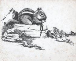MIGNOLA, MIKE - giant Chipmunk eats Knight illo 1979 Comic Art