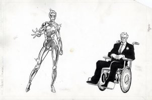 MIGNOLA, MIKE - Alpha Flight Team - Omega Flight MU Pinups, 2 on 1 board - team-leader Jerome Jaxon & female robot - Delphine Courtney Comic Art