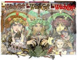 KALUTA, MIKE - Witchcraft #1 #2 #3 painted series covers, 3 Witching Hour Witches: Cynthia, Mildred, Morganna '94  Comic Art
