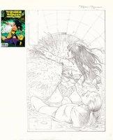 BOLLAND, BRIAN - Wonder Woman #84 cover pencil, WW saves woman 1994 Comic Art