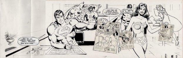 GARCIA-LOPEZ, JOSE LUIS / GIORDANO - DC In House Ad: drawing comics Pinup: JLA- Supes WW Batman & Robin, Flash, Green Lantern + Supergirl 1980 Comic Art