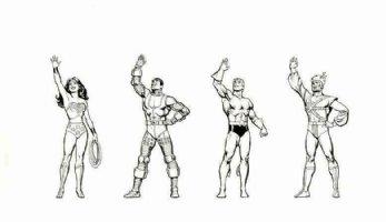 GARCIA-LOPEZ, JOSE LUIS - DC Promo figures on DC board: Wonder-Woman, Aquaman, Cyborg, Firestorm 1980s Comic Art