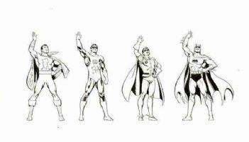 GARCIA-LOPEZ, JOSE LUIS - DC Promo figures on DC board: Batman & Robin, Green Lantern, Shazam 1980s Comic Art