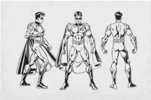 GARCIA-LOPEZ, JOSE LUIS - DC Style Guide - Robin (Tim Drake) 3-view 1998 Comic Art
