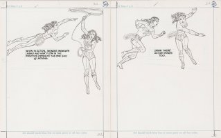 SWAN, CURT - DC How To Draw Super Heroes pgs 32-33, Wonder Woman in action, 1983 Comic Art
