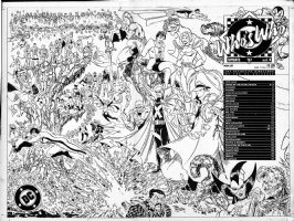 MCFARLANE, TODD - Who's Who Update 1987 #4 large Wrap-Around Cover, Power Girl, Mon El, Outsiders, Alan Moore's Minutemen and many more!  Comic Art